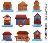 Water Mill Icons Set. Cartoon...