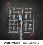 Small photo of Young businessman flying with a rocket through a maze . Solving the maze shortcut concept. Point a to point b maze.