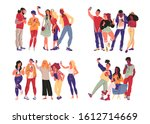 portrait of group of young... | Shutterstock .eps vector #1612714669