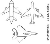 Set of airplane icon vector isolated on white background. Airplane icon simple sign collections.Hand drawn cartoon sketch vector illustration, marker style coloring.