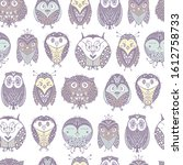 kids seamless pattern with cute ... | Shutterstock .eps vector #1612758733