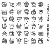 cart supermarket icons set.... | Shutterstock .eps vector #1612792699