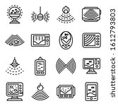 Echo sounder icons set. Outline set of echo sounder vector icons for web design isolated on white background