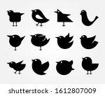birds icon set  animal vector | Shutterstock .eps vector #1612807009
