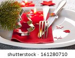 christmas place setting with... | Shutterstock . vector #161280710