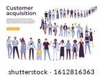 people crowd stand in queue.... | Shutterstock . vector #1612816363