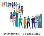 line to atm. people stand in... | Shutterstock . vector #1612816369