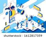 influencer standing with... | Shutterstock .eps vector #1612817359