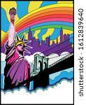 new york showplaces psychedelic ... | Shutterstock .eps vector #1612839640