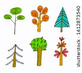 set of colorful doodle trees.... | Shutterstock .eps vector #1612873540