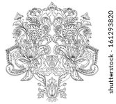 hand drawn floral paisley.... | Shutterstock .eps vector #161293820