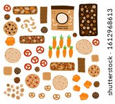 set of doodle colored healthy... | Shutterstock .eps vector #1612968613
