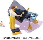 vector isometric smartphone...   Shutterstock .eps vector #1612988683