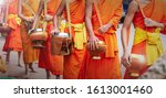 Close Of Buddhist Novice Monks...