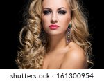 beautiful woman with blonde... | Shutterstock . vector #161300954