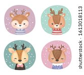 cute reindeer illustration ... | Shutterstock .eps vector #1613018113