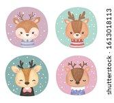cute reindeer illustration ... | Shutterstock .eps vector #1613018113