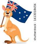 Kangaroo Holds The Flag Of...