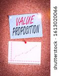 Small photo of Writing note showing Value Proposition. Business photo showcasing feature intended to make a company or product attractive Corkboard size paper thumbtack sheet billboard notice board.