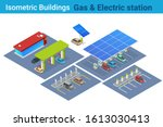 isometric electric car charging ... | Shutterstock .eps vector #1613030413