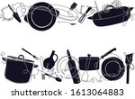 background with utensils and... | Shutterstock .eps vector #1613064883