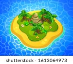 tropical island with palm trees ... | Shutterstock .eps vector #1613064973