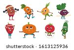 cartoon vegetables exercises.... | Shutterstock .eps vector #1613125936