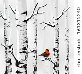 Birch In Snow  Winter Card In...