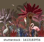 border with tropical animals in ... | Shutterstock .eps vector #1613183956