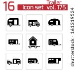vector black trailer icons set | Shutterstock .eps vector #161319524