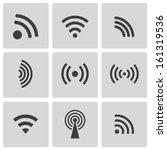 vector black wireless icons set | Shutterstock .eps vector #161319536
