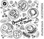 breakfast top view frame....   Shutterstock .eps vector #1613196826