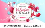 happy valentines day background ... | Shutterstock .eps vector #1613213536