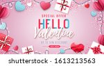 happy valentines day background ... | Shutterstock .eps vector #1613213563