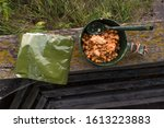 Small photo of Military food in rhetorical packages. Beans with meat in a bowl.