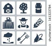 Vector farming icons set: barn, apple tree, milk can, field and harvester, farmer, ear of wheat, seeding, spade and pitchfork, corn