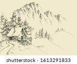 winter alpine landscape and... | Shutterstock .eps vector #1613291833