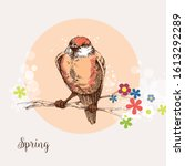 bird in a blooming tree... | Shutterstock .eps vector #1613292289