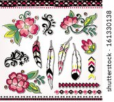 folk design set folk flower... | Shutterstock .eps vector #161330138