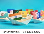 paper ship with flags of india  ... | Shutterstock . vector #1613315209