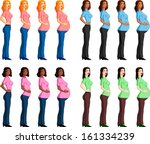 pregnancy stages of racial... | Shutterstock .eps vector #161334239