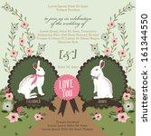 bunny love party invitation   Shutterstock .eps vector #161344550