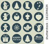 christmas icons. vector set ... | Shutterstock .eps vector #161344634