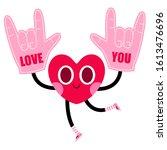 cute heart cartoon character...   Shutterstock .eps vector #1613476696