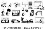 advertisement agency putting up ... | Shutterstock .eps vector #1613534989