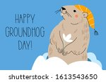 happy groundhog day. design for ... | Shutterstock .eps vector #1613543650