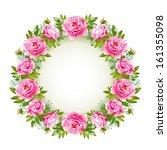 rose wreath isolated on white | Shutterstock .eps vector #161355098