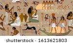 ancient egypt frescoes.... | Shutterstock .eps vector #1613621803