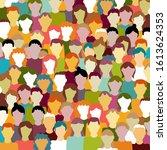 crowd. workers group  people in ... | Shutterstock .eps vector #1613624353