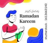 ramadan kareem social media... | Shutterstock .eps vector #1613663140